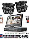 Sannce® 8ch 8pcs 720p lcd dvr sistem de securitate împotriva intemperiilor suportat analog ahd tvi ip camera 1tb