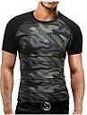 Bărbați Rotund Tricou Plus Size Simplu(ă),Bloc Culoare Manșon scurt Vară-Mediu Bumbac Poliester
