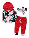 Fete Set Îmbrăcăminte Floral Modă Sporturi Bumbac Toamnă Manșon Lung Floral Haine Roșu Vin