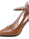 Pentru femei Pantofi Cauciuc Vară Confortabili Sandale Plimbare Toc Stilat Vârf ascuțit Cataramă Rosu / Migdală / Maro Închis