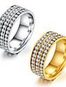 Dam Kubisk Zirkoniumoxid Kubisk Zirkoniumoxid Ring - Rund prinsessa Klassisk Elegant Guld Silver Ringa Till Bröllop Årsdag Fest / Kväll