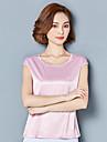 Pentru femei În V Tricou Mată Sleeve Lantern Mătase