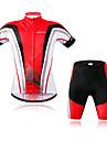 WOSAWE Kortärmad Cykeltröja med shorts - Röd Cykel Klädesset, Reflexremsa