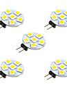 5pcs 1W 68lm G4 LED-lampor med G-sockel 6 LED-pärlor SMD 5050 Varmvit Vit 12V