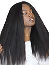 Äkta hår Spetsfront Peruk Rak 120% Densitet 100 % handbundet Afro-amerikansk peruk Naturlig hårlinje Lång Dam Äkta peruker med hätta