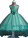 rochie de mireasa rochie asimetrica rochie - organza gât de bijuterie fără mâneci cu flori de mii