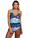 Dame Imprimeu Halter Tankini Costume de Baie Floral Albastru piscină