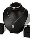 Pentru femei Zirconiu Cubic Set bijuterii - Zirconiu, Placat Cu Aur Roz Minge Modă Include Brățări Bangle / Cercei Stud / Lănțișor Alb / Rosu / Verde Pentru Nuntă / Petrecere / Zi de Naștere