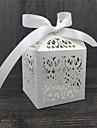 Rotund Pătrat Cubic Hârtie perlă Favor Holder cu Panglici Imprimare Cutii de Savoare