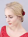 Împletitură Stil Coș Imitație de Perle Aliaj Diadema-Nuntă Ocazie specială Party/Seara Flori Păr Stick Εργαλείο μαλλιών 1