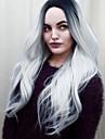 Synthetische Peruecken Wellen Ombre Schwarzgrau Synthetische Haare Damen Gefaerbte Haarspitzen (Ombré Hair) / Mittelscheitel Ombre Peruecke Mittlerer Laenge Kappenlos