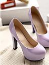 Femme Chaussures Polyurethane Printemps Confort Chaussures a Talons Talon Aiguille Bout rond Pour Decontracte Noir Violet Claire Rose