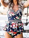Pentru femei Tankini - Peplum Fără Spate, Floral Cu Bretele Cheeky Bustieră Fașă Elastică