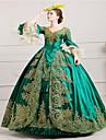 Vintage Victoriansk Rokoko Kostym Dam Klänningar Maskerad Festklädsel Grön Vintage Cosplay Spets Satin Långärmad Poet Lång längd