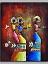 Pictat manual Etnic Vertical,Artistic Abstract Clasic Activ Etnic & Interrasial Anul Nou Un Panou Canava Hang-pictate pictură în ulei For