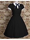 One-piece/Klänning Söt Lolita Sjömans Lolita Vintage-inspirerad Cosplay Lolita-klänning Rosa Svart Blå Rosett Enfärgat Vintage Kortärmad