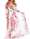 Pentru femei Mărime Plus Size Concediu / Plajă Șifon / Swing Rochie - Imprimeu, Floral În V Talie Inaltă Maxi / Modele florale