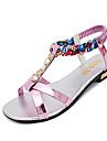 Damă Pantofi PU Primăvară Vară Confortabili Pantof cu Berete Tălpi cu Lumini Sandale Toc Jos Pantofi vârf deschis Dantelă Curea Împletită