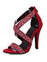 Pentru femei Pantofi Piele de Căprioară Vară / Toamnă Confortabili / Noutăți Sandale Toc Stilat Vârf deschis Piatră Semiprețioasă /