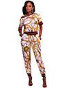 Damă Rotund Tricou Pantaloni Costume Casul/Zilnic Alergat Simplu,Imprimeu Manșon Scurt Vara Elastic