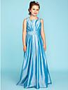 A-Linie / Princess Hranatý Na zem Taft Šaty pro malou družičku s Šerpa / Stuha / Sklady podle LAN TING BRIDE® / Svatebnívečírek / Přírodní