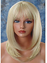 Syntetiskt hår peruker Rak Naturlig hårlinje Frisyr i lager Med lugg Utan lock Halloween Paryk Celebrity Wig Naturlig peruk Mellan Blond