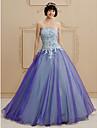 Prințesă Fără Bretele Lungime Podea Organza Rochie de mireasă cu Cristal Mărgele Dantelă Model de LAN TING BRIDE®
