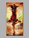 HANDMÅLAD Människor Vertikal, Konst Dekor / Retro Duk Hang målad oljemålning Hem-dekoration En panel