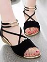 Damă Pantofi Piele nubuc PU Primăvară Vară Confortabili Sandale Pentru Casual Negru Bej Maro Rosu Albastru