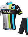 SANTIC Herr Kortärmad Cykeltröja med shorts - Grön Cykel Shorts Vadderade shorts Tröja Klädesset, UV-Resistent, Andningsfunktion,