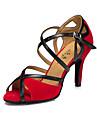 Women\'s Latin Shoes Suede Heel Buckle High Heel Customizable Dance Shoes Black / Red / Indoor