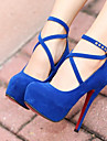 Women\'s Nubuck leather / PU(Polyurethane) Fall / Winter Basic Pump Heels Chunky Heel Black / Red / Blue / 3-4 / EU39