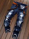 Bărbați Pantaloni Chinos Blugi Simplu Talie Medie,Micro-elastic Pantaloni Chinos Blugi Pantaloni ripped Mată