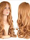 Syntetiskt hår peruker Lockigt Utan lock Karneval peruk Halloween Paryk Lång Blond
