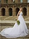 Da ballo Senza bretelline Scollatura dritta Strascico da cattedrale Raso Tulle Pizzo con perline Abiti da sposa personalizzati con