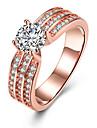 Pentru femei Cristal Band Ring / Inel de logodna - Zirconiu, Aliaj Inimă 6 / 7 / 8 Roz auriu Pentru Nuntă / Petrecere / Zi de Naștere