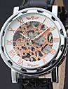 Bărbați Ceas Elegant  Ceas de Mână Chineză Mecanism manual Gravură scobită Piele Bandă Vintage Elegant Negru