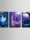 LED Artă Pe Pânză Peisaj Trei Panouri Vertical Imprimeu Decor de perete Pagina de decorare