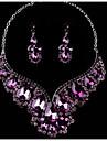 Pentru femei Cristal Set bijuterii - Include Cercei Picătură / Lănțișor Mov / Rosu / Albastru Pentru Nuntă / Petrecere