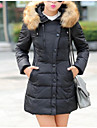 Pentru femei Mărime Plus Size Zvelt Capișon Lung Parka - Mată, Culoare pură Bumbac