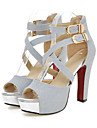 Pentru femei Pantofi PU Primăvară Vară Confortabili Noutăți Sandale Toc Înalt Pantofi vârf deschis Cataramă pentru Nuntă Party & Seară