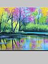 HANDMÅLAD Landskap Horisontell,Moderna Kanvas Hang målad oljemålning Hem-dekoration En panel
