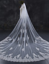 Two-tier Lace Applique Edge Bridal Wedding Wedding Veil Chapel Veils Cathedral Veils 53 Lace Lace Tulle