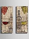 Întins Canvas Art Still Vin viață și de vin ochelari Set de 2