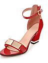 Damă Sandale Pantofi Club Imitație de Piele Primăvară Vară Toamnă Casual Rochie Party & Seară Pantofi Club Fermoar Vârf Metalic Toc Gros