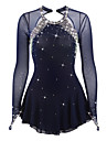 Figure Skating Dress Women\'s Girls\' Ice Skating Dress Dark Blue Open Back Spandex Elastane High Elasticity Competition Skating Wear Handmade Jeweled Rhinestone Long Sleeve Ice Skating Figure Skating