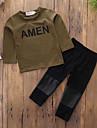 Băieți Set Îmbrăcăminte Mată Scrisă Bumbac Zilnic Sport Primăvară Toamnă Mânecă Lungă Casual Activ Punk & Gotic Verde Militar