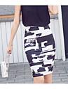 Pentru femei Bodycon Sofisticat Ieșire Bumbac Fuste - Bloc Culoare Imprimeu / Toamnă