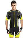 Nuckily Herr Kortärmad Cykeltröja med shorts - Gul Geometrisk Cykel Shorts Tröja Klädesset, UV-Resistent, Andningsfunktion, Reflexremsa