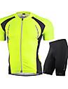 Nuckily Herr Kortärmad Cykeltröja med shorts - Vit Röd Grön Blå Cykel Klädesset, Andningsfunktion, Reflexremsa